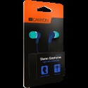Stereo Earphones with inline microphone, Green+Blue -- снимка