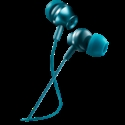 Stereo earphones with microphone, metallic shell, 1.2M, blue-green -- снимка