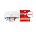 """1367C095AA_2311B060AA, Canon PIXMA TS5051 All-In-One, White + Canon F-715SG + Canon Plus Glossy II PP-201, 5x5"""", 20 sheets -- снимка"""