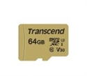TS64GUSD500S, Памет Transcend 64GB microSDXC I, Class 10, U3, V30, MLC with Adapter, read: up to 95MBs, 60MB/s -- снимка