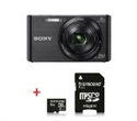 DSCW830B.CE3_TS8GUSDU1, Sony Cyber Shot DSC-W830 black + Transcend 8GB micro SDHC UHS-I Premium (with adapter, Class 10) -- снимка