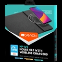 CANYON Mouse Mat with wireless charger, Input 5V/2A, 9V2A Output 5W/7.5W/10W, 324*244*6mm, Micro USB cable length 1m, Black, 220g -- снимка